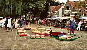 Edam, Netherlands - Cheese market in Edam, August 2006.