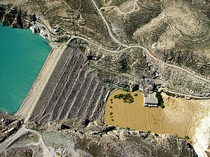 Kajaki Dam - Aerial view of the Kajaki Dam in 2007