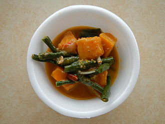 Calabaza - The Filipino dish ginataang kalabasa at sitaw (calabaza and string beans in coconut milk)