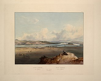 Karl Bodmer - Fort Pierre on the Missouri and the adjacent prairies, c. 1833. Aquatint by Bodmer from Maximilian, Prince of Wied's Travels in the Interior of North America (1843-1844), which his works illustrate.