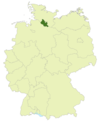 Map of Germany:Position of Hamburg highlighted