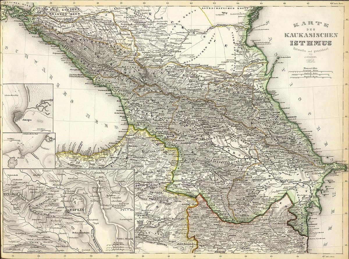 Karte des Kaukasischen Isthmus - Entworfen und gezeichnet von J-Grassl - 1856.jpg