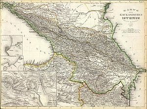 Shapsugs -  Map depicts the tribal areas of the Adyghe (Circassians) Tribes within Circassia in 1856.