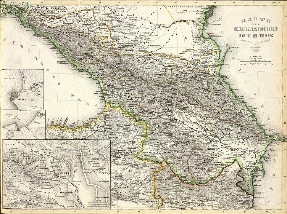 Karte des Kaukasischen Isthmus - Entworfen und gezeichnet von J-Grassl - 1856