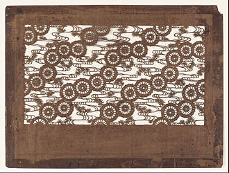 Ise-katagami - Umbrellas, water and pine needle clusters (late 19th century): mulberry paper, persimmon-juice lacquer, silk thread