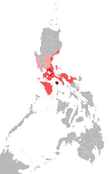 Mga rehiyon sa Pilipinas na malawakang gumagamit ng wikang Tagalog.