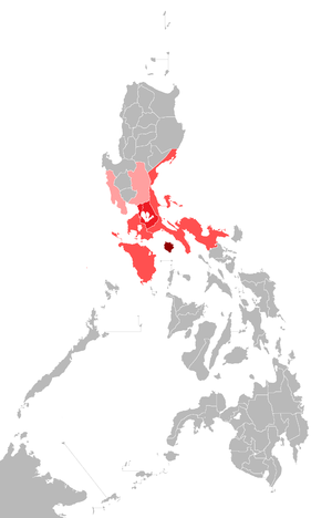Észak-Tagalog dialektusok: Bulacan (Bulacan & Nueva Ecija) and Bataan (Bataan & Zambales).   Közép-Tagalog dialektusok: Laguna (Laguna & Rizal) and Manila or the Filipino language (Metro Manila).   Dél-Tagalog dialektusok: Batangas (Cavite & Batangas), Lubang (Mindoro), and Tayabas (Aurora, Camarines Norte, Camarines Sur, & Quezon).   Marinduque dialektusok (Marinduque). Source: [1]
