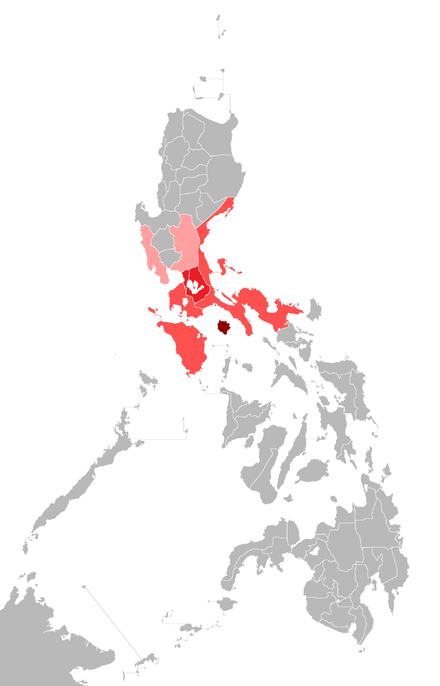 Predominantly Tagalog-speaking regions in the Philippines. The color-schemes represent the four dialect zones of the language: Northern, Central, Southern and Marinduque. The majority of residents in Camarines Norte and Camarines Sur speak Bikol as their first language but these provinces nonetheless have significant Tagalog minorities. In addition, Tagalog is used as a second language throughout the Philippines. Katagalugan.png