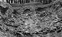 One of the mass graves at Katyń.