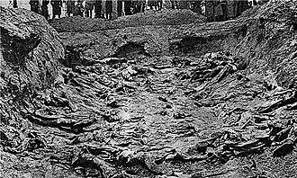 La photographie en noir et blanc date de 1943. Elle montre une fosse excavée au fond de laquelle des corps sont alignés. En haut de la photo, les bottes et manteaux des Allemands, découvreurs du charnier, apparaissent.