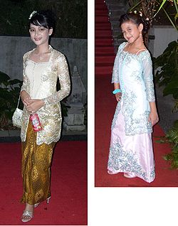 Modern kebaya for woman (left) and child (right).