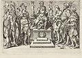 Keizer Karel V omgeven door zijn overwonnen tegenstanders Overwinningen van Karel V (serietitel) Divi Caroli. V. imp. opt. max. victoriae, ex multis praecipuae (serietitel), RP-P-1950-201A.jpg