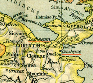Kechries - Map showing ancient Cenchreae