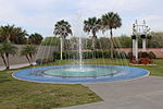 Kennedy Space Center, Rocket Garden fountain.JPG