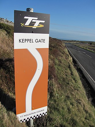 Keppel Gate, Isle of Man - Keppel Gate Isle of Man TT (Mountain) Course Sign on the A18 Snaefell Mountain Road with a south-east aspect looking towards Slieau Ree mountain and Keppel Gate.