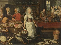 Pieter Cornelisz van Rijck: Kitchen Scene with the Parable of the Rich Man and Poor Lazarus