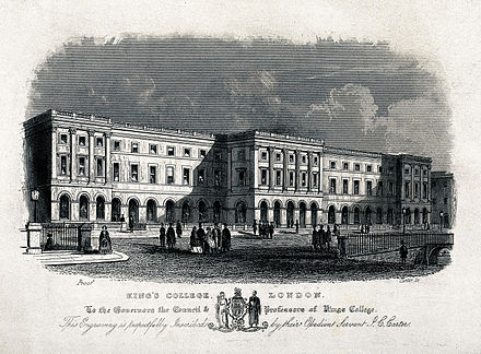 King's College London in 1831, as engraved by J. C. Carter King's College, Strand, London. Engraving by J. C. Carter. Wellcome V0013842.jpg