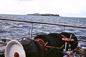 TS King George V - View of capstan in 1970 off Staffa.