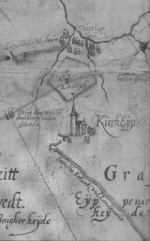 Landwehr (border) - The landwehrs near Dreiherrenstein at Kircheib on a 1605 map