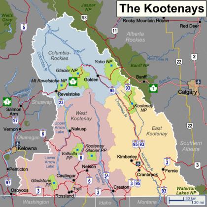 Map Of Kootenays Kootenays – Travel guide at Wikivoyage