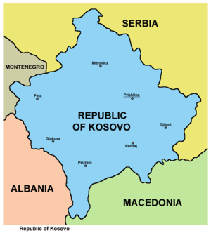 2008 Kosovo declaration of independence - Map of the Republic of Kosovo