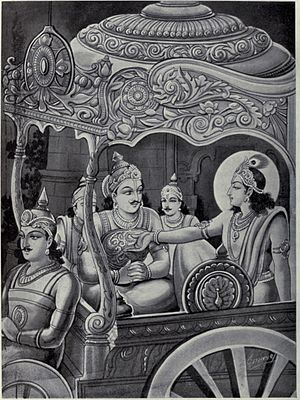 Udyoga Parva - Krishna explains to Karna who his biological mother is, how is a brother of the Pandavas, and why avoiding a war and virtuous peace is the right thing to do.