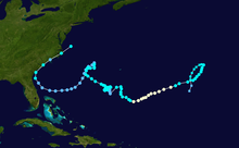 Track map of the fourth longest-lived Atlantic tropical cyclone on record.