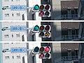 LED式路面電車用信号機(3枚合成、上から青信号・赤×印、青信号・黄色矢印、赤信号・赤×印).jpg