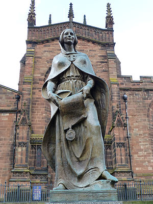 Wulfrun - Charles Wheeler's statue of Lady Wulfrun at St Peter's Church, Wolverhampton
