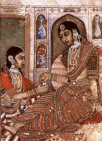 Sari - Lady being offered wine, Deccan, 1600 CE.