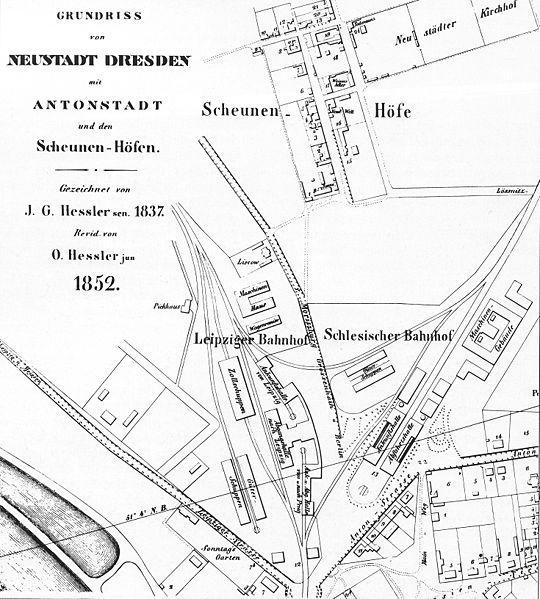 Datei:Lageplan Leipziger Bahnhof und Schlesischer Bahnhof Dresden1852.jpg