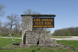 Lake Darling State Park entrance sign