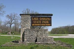 Lake Darling State Park - Lake Darling State Park entrance sign.