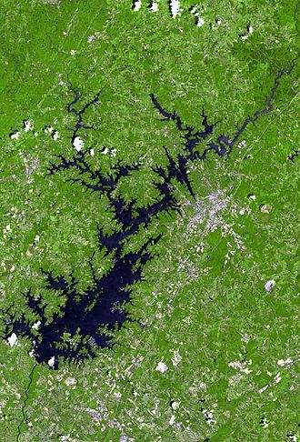 Lake Lanier - Image: Lake lanier satellite map