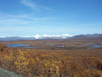 Interior Alaska - Lakes and peaks of the Alaska Range seen from the Denali Highway