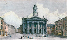 A coloured engraving of a neoclassical building