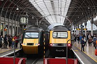 Last day of GWR HSTs - all together at Paddington 43093 and 43172.JPG