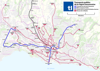 Public transport in the Lausanne Region - Image: Lausanne Public transport map