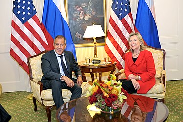 U.S. Secretary of State Hillary Clinton with Russian Foreign Minister Sergey Lavrov at the Waldorf Astoria New York in September 2010 Lavrov and Clinton in NYC-1.jpg
