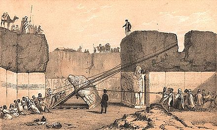 English archaeologist Austen Henry Layard in the ancient Assyrian city of Nineveh, 1852. Layard Nineveh.jpg