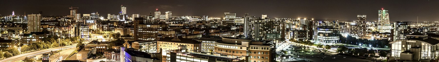 The night lights of Leeds, the largest city of West Yorkshire