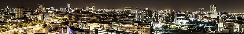 A light night over Central Leeds. Taken by Flickr user:Carl Milner on Wednesday the 9th of October 2013.
