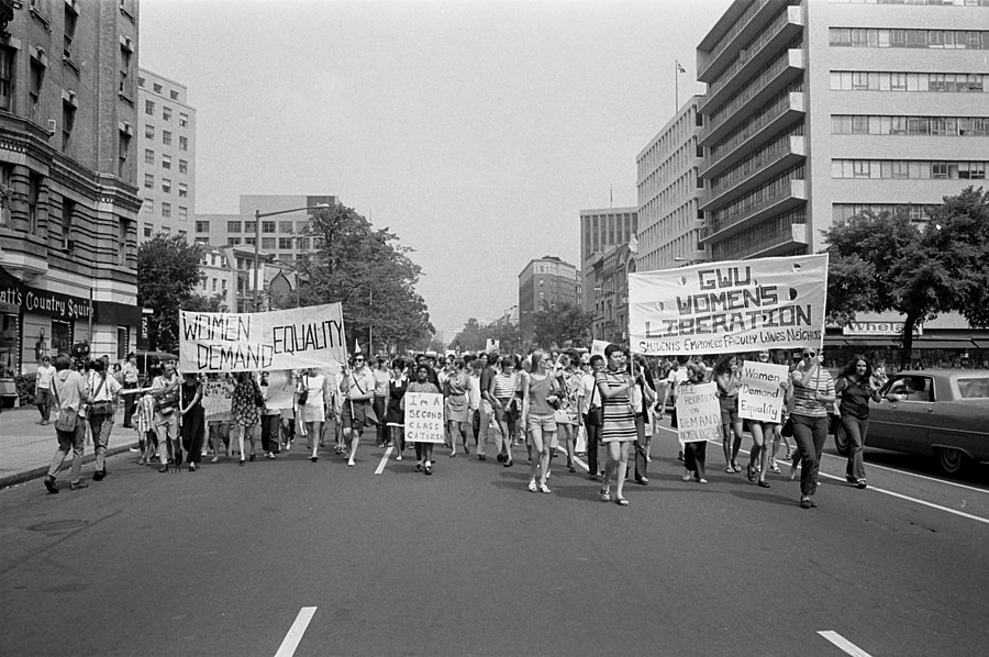 A Women's Liberation march in the U.S. Washington, DC, August 1970. March was from Farrugut Square to Lafayette Park.[70][full citation needed]