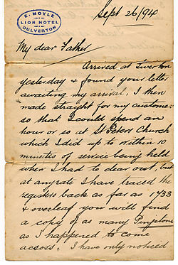Cursive in english letter from 1894