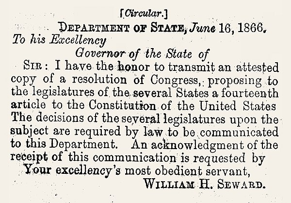 Form of the Letter of Transmittal of the Fourteenth Amendment to the several states for its ratification Letter of Transmittal of 14th Amemdment to the Several States.jpg