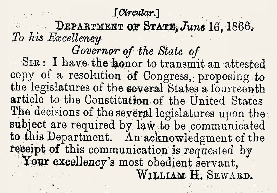Letter of Transmittal of 14th Amemdment to the Several States