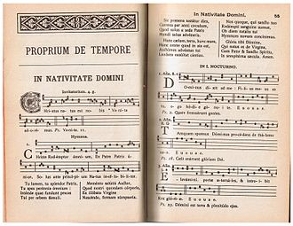 Antiphon - The Liber responsorialis, showing on the right-hand page the antiphons for the first night office of Christmas. The associated psalm tones are indicated by number and ending pitch, and the pitches for the ending of the doxology are indicated by vowels:et in secula seculorum amen.