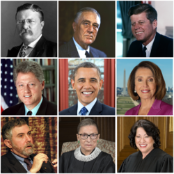 This is a collage of prominent liberals in the United States. From left to right, top to bottom: Theodore Roosevelt, Franklin D. Roosevelt, John F. Kennedy, Bill Clinton, Barack Obama, Nancy Pelosi, Paul Krugman, Ruth Bader Ginsburg and Sonia Sotomayor