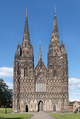 Victorian restoration - The west front of Lichfield Cathedral as restored by George Gilbert Scott