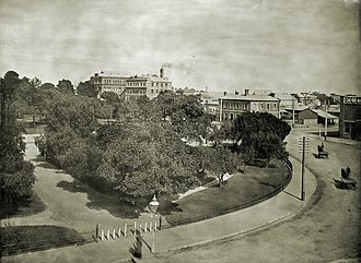 Light Square - A photograph of Light Square in 1911 showing the Colonel Light Hotel uploaded by the State Library of South Australia.